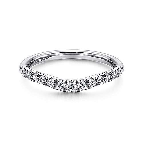 Gabriel - 14k White Gold Stackable Curved Anniversary Band