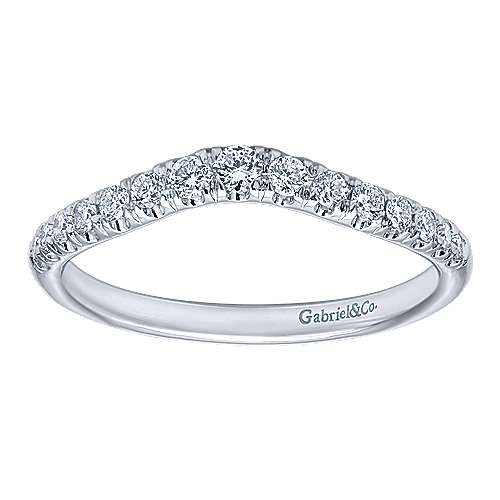 14k White Gold Stackable Curved Anniversary Band