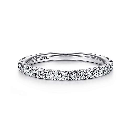 Gabriel - 14k White Gold Stackable Diamond Studded Ladies Ring