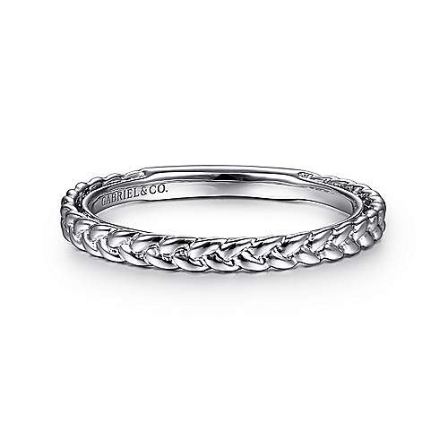 Gabriel - 14k White Gold Stackable Entwined Ladies Ring