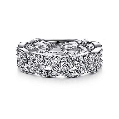 14k White Gold Stackable Intertwined Diamond Ladies Ring