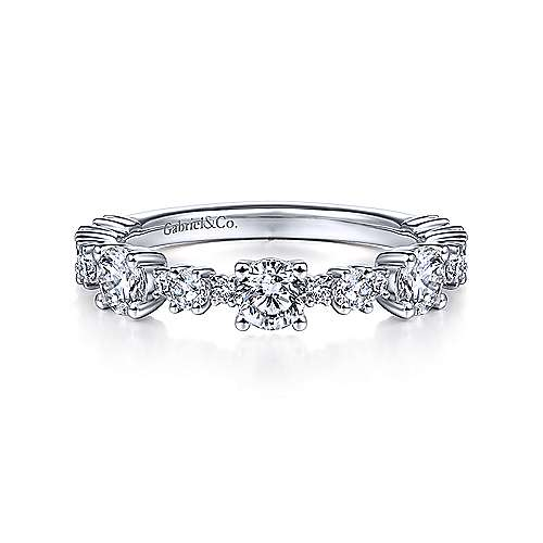 Gabriel - 14k White Gold Stackable Ladies Ring
