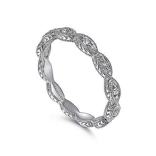 14k White Gold Stackable Luminous Ladies Ring