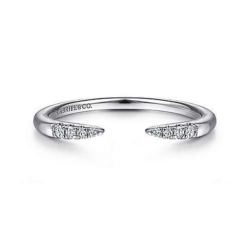 Gabriel - 14k White Gold Stackable Open Tapered Ladies Ring