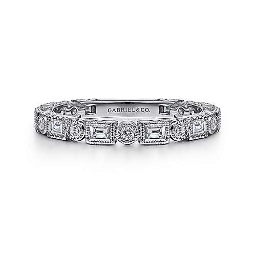 Gabriel - 14k White Gold Stackable Round and Rectangle Ladies Ring