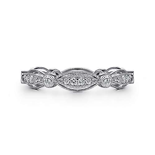 Gabriel - 14k White Gold Stackable Teardrop Ladies Ring
