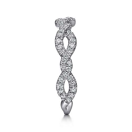 14k White Gold Stackable Twisted Ribbon Ladies' Ring