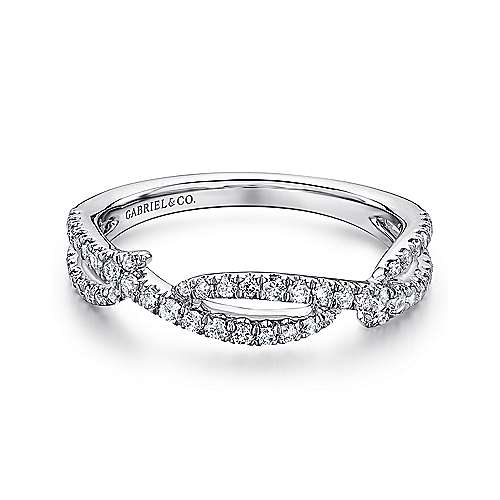 Gabriel - 14k White Gold Stackable Twisting Ladies Ring