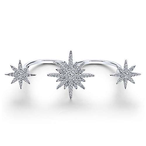 14k White Gold Starlis Double Ring Ladies' Ring angle 1