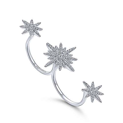 14k White Gold Starlis Double Ring Ladies' Ring angle 3
