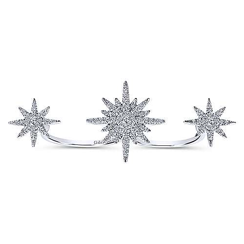 14k White Gold Starlis Double Ring Ladies' Ring angle 4