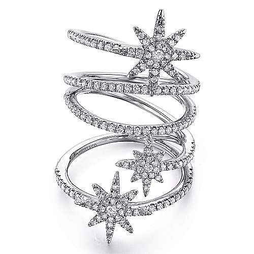 Gabriel - 14k White Gold Starlis Statement Ladies' Ring