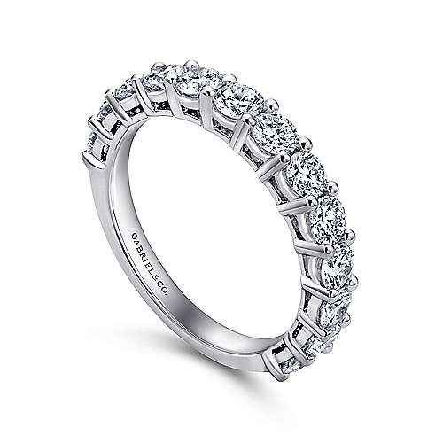 14k White Gold Straight Anniversary Band angle 3
