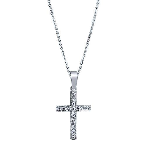 Gabriel - 14k White Gold Straight Diamond Cross Necklace