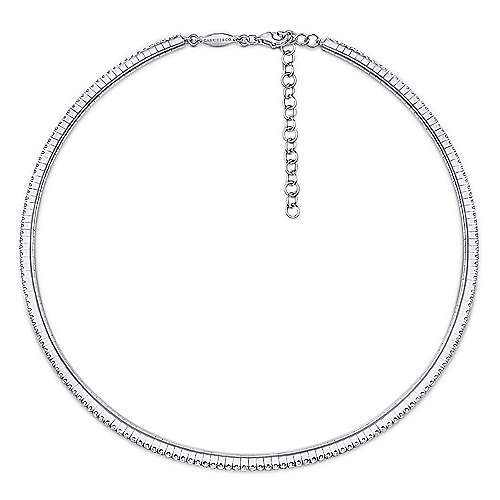 14k White Gold Straight Pave Diamond Choker Necklace