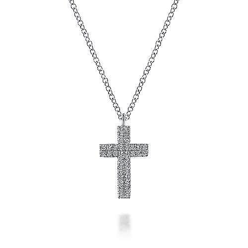 Gabriel - 14k White Gold Straight Pave Diamond Cross Necklace