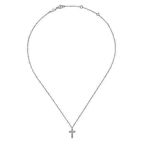 14k White Gold Straight Pave Diamond Cross Necklace