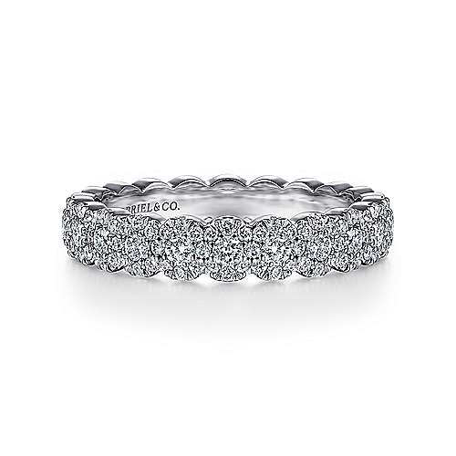 14k White Gold Straight Scalloped Diamond Anniversary Band