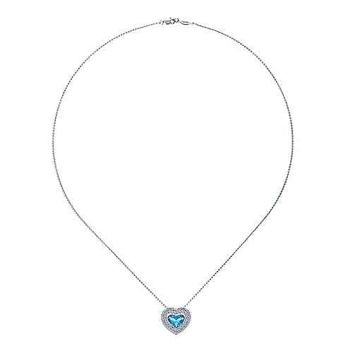 14k White Gold Swiss Blue Topaz & Diamond Heart Necklace
