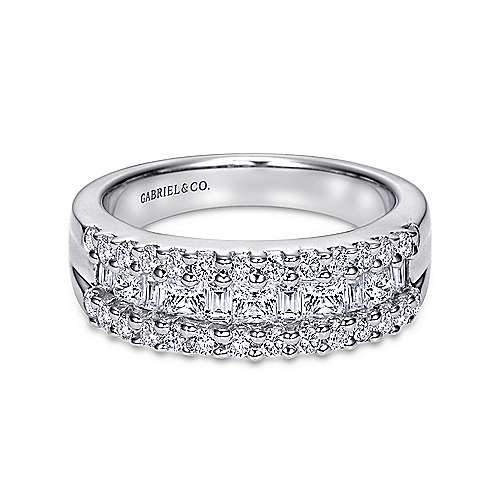 Gabriel - 14k White Gold Three Row Fancy Shape Anniversary Band