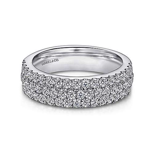 Gabriel - 14k White Gold Three Row Micro Pavé Anniversary Band