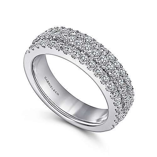 14k White Gold Three Row Micro Pavé Anniversary Band