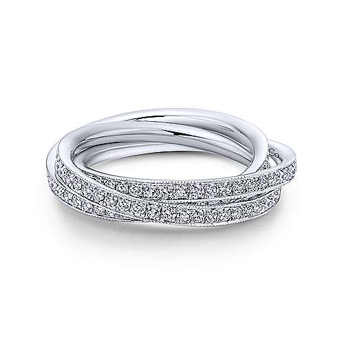 14k White Gold Three Row Micro Pavé Eternity Band