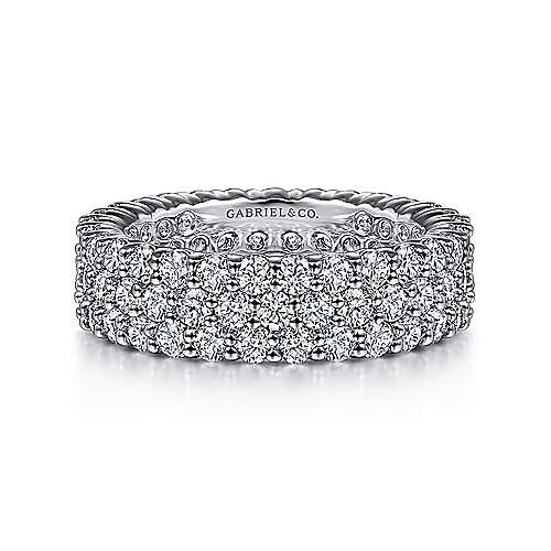 14k White Gold Three Row Pavé Eternity Band