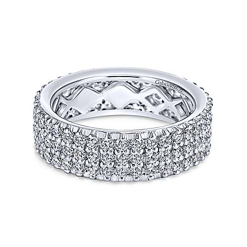 Gabriel - 14k White Gold Three Row Pavé Eternity Band