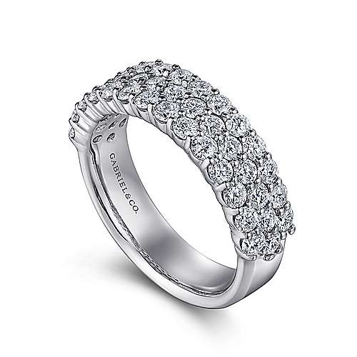 14k White Gold Three Row Prong Set Anniversary Band