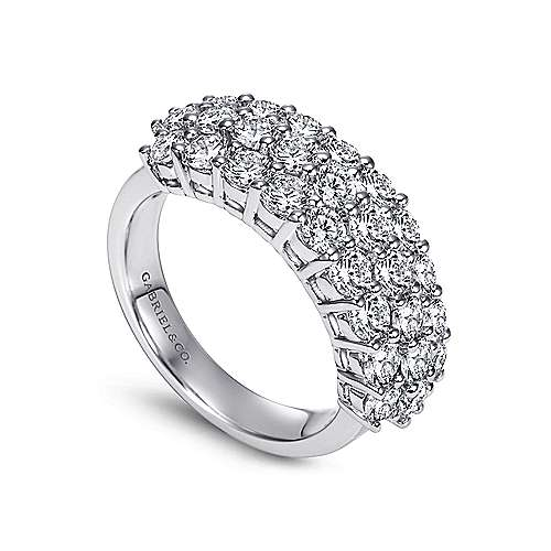14k White Gold Three Row Prong Set Band