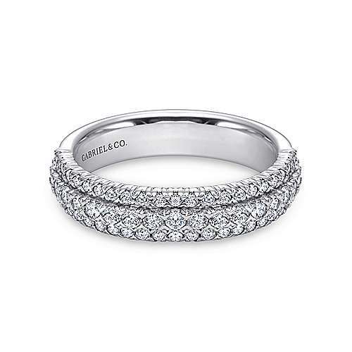 Gabriel - 14k White Gold Three Row Prong Set Band