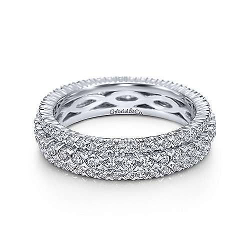 Gabriel - 14k White Gold Three Row Prong Set Eternity Band