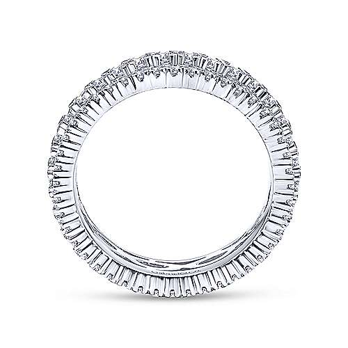 14k White Gold Three Row Prong Set Eternity Band