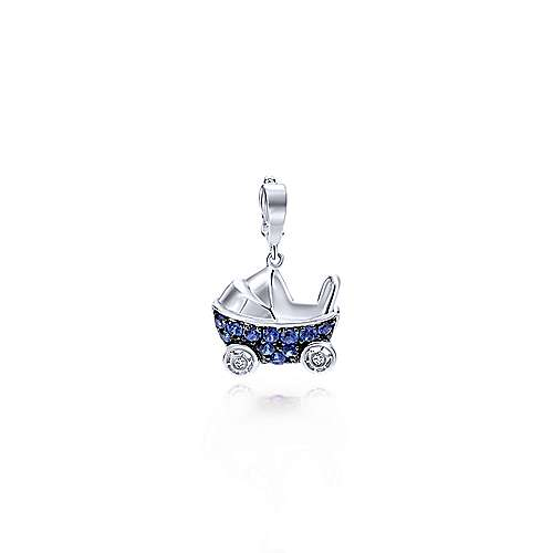 14k White Gold Treasure Chests Charm Pendant