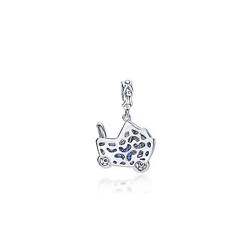 14k White Gold Treasure Chests Charm Pendant angle 2