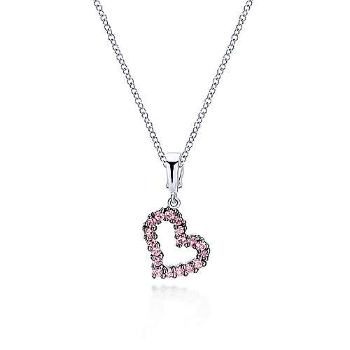 14k White Gold Treasure Chests Heart Heart Pendant angle 3