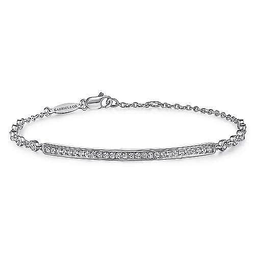 14k White Gold Trends Chain Bracelet angle 1