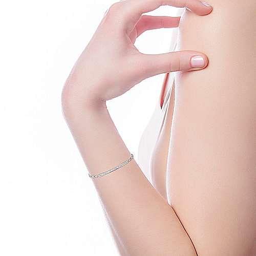 14k White Gold Trends Chain Bracelet angle 4