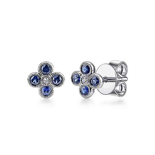 Gabriel - 14k White Gold Trends Stud Earrings