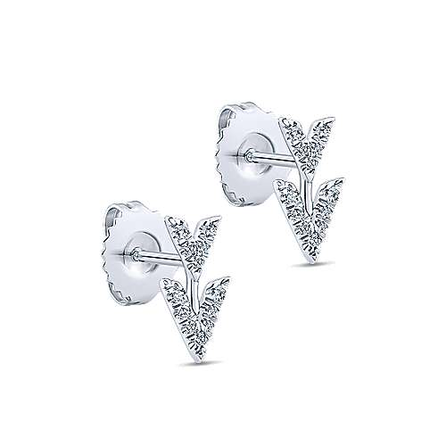 14k White Gold Trends Stud Earrings angle 2