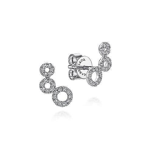 Gabriel - 14k White Gold Triple Round Loop Diamond Stud Earrings