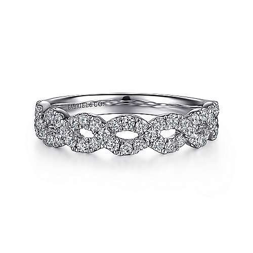 14k White Gold Twisted Diamond Anniversary Band angle 1