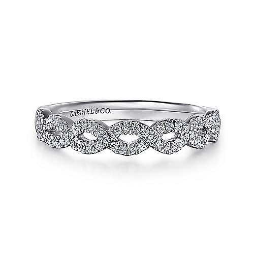 Gabriel - 14k White Gold Twisted Diamond Anniversary Band