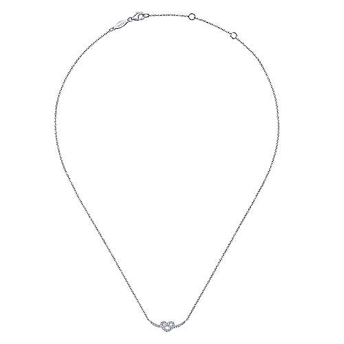 14k White Gold Twisted Diamond Heart Necklace