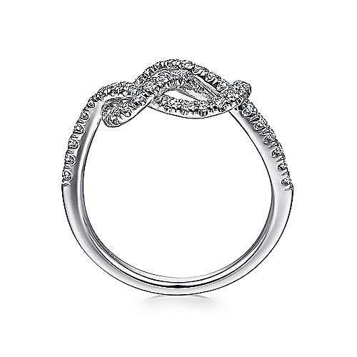 14k White Gold Twisted Ladies Ring