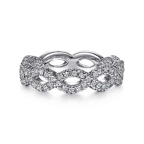 Gabriel - 14k White Gold Twisted Pave Diamond Stackable Ring