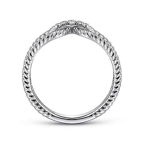 14k White Gold Twisted Split Shank Pave Diamond Fashion Ring