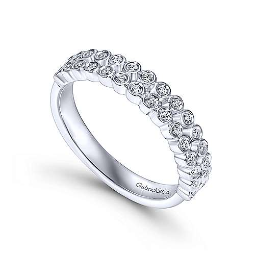 14k White Gold Two Row Bezel Set Anniversary Band