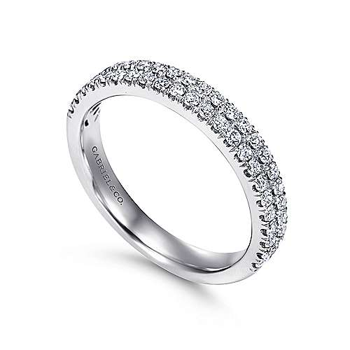 14k White Gold Two Row French Pavé Band